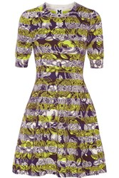 M Missoni Pleated Floral Print Cotton Blend Mini Dress Dark Purple