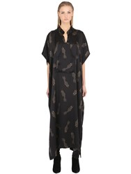 Ma'an Fishes Printed Silk Caftan Dress