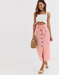 Stradivarius Button Front Midi Skirt With Bow In Pink Pink