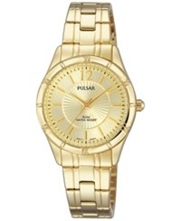 Pulsar Women's Easy Style Gold Tone Stainless Steel Bracelet Watch 28Mm Ph8258