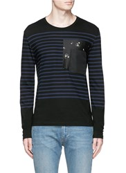 Alexander Mcqueen Floral Print Pocket Sailor Stripe T Shirt Black