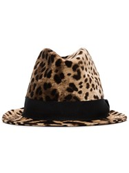 Dolce And Gabbana Leopard Print Trilby Hat Brown