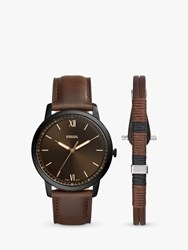 Fossil Fs5557set 'S Minimalist Leather Strap Watch And Bracelet Gift Set Brown