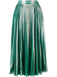 Gucci Pleated Metallic Skirt Green