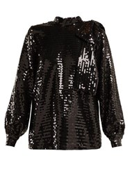 Msgm High Neck Sequin Top Black