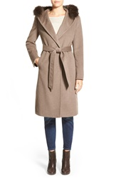 Ellen Tracy Genuine Fox Fur Trim Long Hooded Wool Blend Coat Taupe