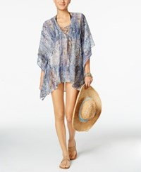 Rachel Roy Lace Up Cover Up Tunic Only At Macy's Women's Swimsuit Grey Multi