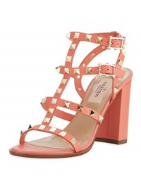 Valentino Rockstud Strappy City Sandal Orange