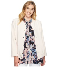 Vince Camuto Specialty Size Plus Snap Front Blistered Texture Bomber Jacket Pink Mimosa Women's Jacket White