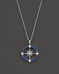 Bloomingdale's Sapphire And Diamond Nautical Pendant Necklace In 14K White Gold 16