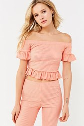 Urban Outfitters Uo Ribbed Knit Off The Shoulder Ruffle Top Orange