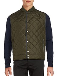 Salvatore Ferragamo Solid Quilted Vest Forest Green
