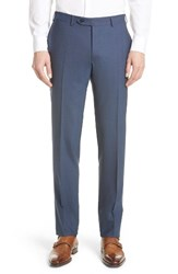 Canali Men's Big And Tall Flat Front Solid Stretch Wool Trousers Navy