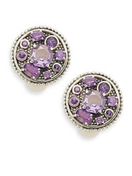 Stephen Dweck Reflection Purple Amethyst And Sterling Silver Clip On Earrings