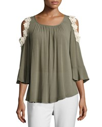 Neiman Marcus Flare Sleeve Cold Shoulder Blouse Green
