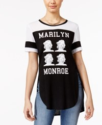 Freeze 24 7 Juniors' Marilyn Monroe Split Graphic T Shirt Black White