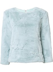 Maki Oh Faux Fur Camouflage Jumper Blue