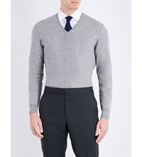 Ralph Lauren Purple Label Fine Knit Cashmere Jumper Light Grey