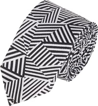 Band Of Outsiders Stripe Geometric Print Neck Tie Black