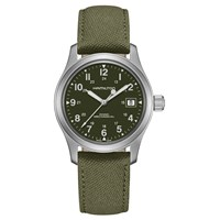 Hamilton H69419363 Men's Khaki Field Officer Handwinding Date Fabric Strap Watch Khaki Green