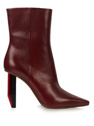 Vetements Reflector Heel Leather Ankle Boots Burgundy