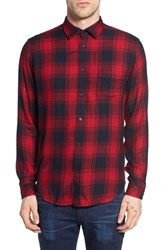 Rails Men's Lennox Slim Fit Plaid Woven Shirt Navy Crimson