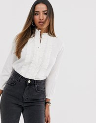 Mango Frill Front Blouse In White
