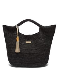Heidi Klein Grace Bay Medium Raffia Basket Bag Black