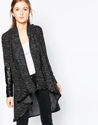 Wal G Cardigan With Wrap Front And Pu Sleeves Grey