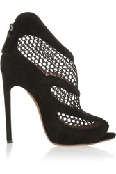 Alaia Suede And Mesh Ankle Boots Black