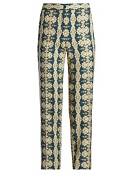 Etro Mosaic Print Slim Leg Trousers Green Multi
