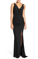 Katie May Women's Wrap Front Crepe Gown
