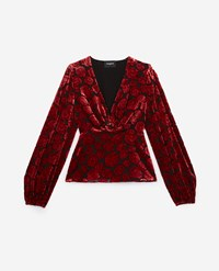 The Kooples Patterned Velvet Top With Red Flowers