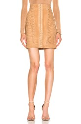 Balmain Suede Lace Up Mini Skirt In Neutrals