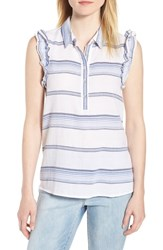 Wit And Wisdom Ruffled Sleeve Striped Top Blue White