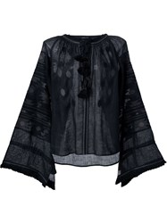 Vita Kin Ethnic Embroidery Blouse Black