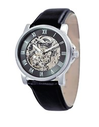Kenneth Cole Mens Skeleton Dial Automatic Watch With Black Leather Strap