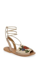 Topshop Women's Halle Embroidered Sandal Nude