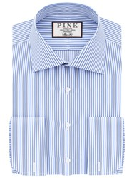 Thomas Pink Grant Slim Fit Double Cuff Stripe Shirt Pale Blue White