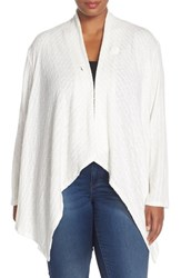 Plus Size Women's Bobeau Rib Knit One Button Cardigan Ivory