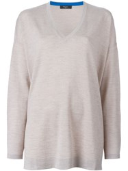 Paul Smith Black Label Loose Fit V Neck Sweater Nude And Neutrals