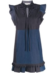 Coach Denim Patch Dress Blue