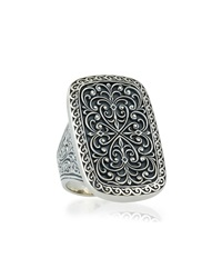 Large Silver Rectangle Filigree Ring Konstantino