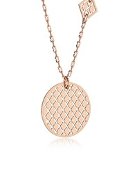 Rebecca Melrose Rose Gold Over Bronze Necklace W Geometric Charms Pink