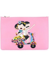 Dolce And Gabbana Dg Family Patch Clutch Pink Purple