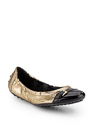 Tod's Metallic Buckle Ballerina Flats Gold Black
