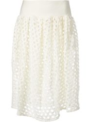 Zucca Cut Out Embroidered Skirt White