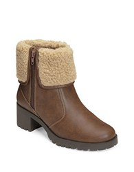Aerosoles Boldness Faux Shearling Leather Boots Light Brown