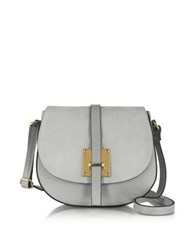 Le Parmentier Pearl Gray Leather And Suede Crossbody Bag