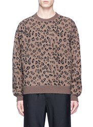 Alexander Wang Leopard Intarsia Wool Cashmere Sweater Animal Print Brown